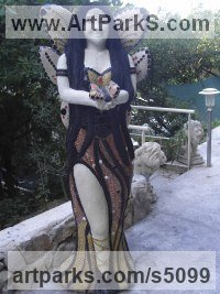 Ciment, chaux ,sable de biot ,mosaique Mosaic sculpture by Nad�ge Gesvres titled: 'fee monarque (Fairy Queen Park/garden/Yard statue)'
