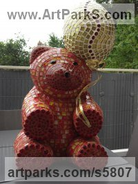 Platre Mosaic sculpture by Nadège Gesvres titled: 'petit Ours (Mosaic Teddy Bear and Ball Sitting Indoor sculptures/statue)'