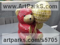 Platre Animals in General sculpture sculpture by sculptor Nadège Gesvres titled: 'Petit ours and son ballon (Mosaic Teddy Bear Light Hearted garden statue)'