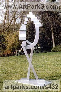 Steel Abstract Modern Contemporary Avant Garde sculpture statuettes figurines statuary both Indoor Or outside sculpture by sculptor Nadine Senft titled: 'The Couple (Modern Steel abstract Geometric statues)'