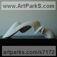 Marble sculpture Minimalist Understated Abstract Contemporary Sculpture statuary statuettes sculpture by Nando Alvarez titled: 'Bridge of Waves (Carved abstract Wave marble statue)'