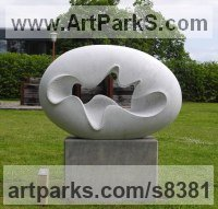 Carved Carrara marble Carved Abstract Contemporary Modern sculpture statue carving sculpture by Nando Alvarez titled: 'Cloud III (Smooth Oval Minimalist Contemporary statue)'