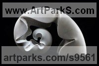 Carrara marble Abstract Loop Indoor and Outside Sculptures / Statues / statuettes sculpture by Nando Alvarez titled: 'Sea shell (Curved Carved marble abstract sculpture)'