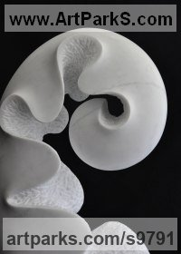 Marble Carved Stone, Marble, Alabaster, Soap Stone Granite Lime stone sculpture by Nando Alvarez titled: 'Spring (Carved Unfurling Fern Frond Leaf sculptures)'
