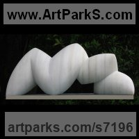 Marble sculpture Carved Abstract Contemporary Modern sculpture statue carving sculpture by Nando Alvarez titled: 'Fauna (Modern abstract White stone garden statuette)'