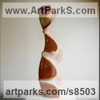 Stone carving Carved Abstract Contemporary Modern sculpture statue carving sculpture by Nando Alvarez titled: 'Water column (Red Carved Wavy marble Indoor sculpture)'
