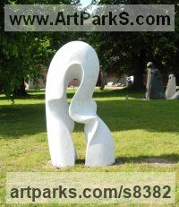 Carved Carrara marble Abstract Contemporary Modern Outdoor Outside Garden / Yard Sculptures Statues statuary sculpture by Nando Alvarez titled: 'Wave (Carved Contemporary marble garden sculptures)'