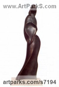 Bronze Indoor figurative sculpture by Nando Alvarez titled: 'Woman (abstract Contemporary Cloaked Woman Indoor Outside statuette)'