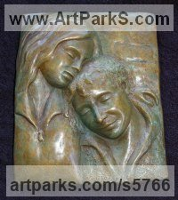 Bronze Parent - Child sculpture by Naomi Bunker titled: 'A Moment in Time (bronze Mother and Child Bas Relief)'