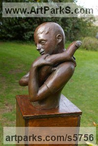 Bronze lost wax Love / Affection sculpture by Naomi Bunker titled: 'Boy and a Polecat (bronze Child and Pet Playing statues)'