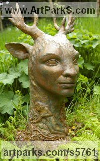 Bronze lost wax Deer sculpture by Naomi Bunker titled: 'Deerman (Bronze forest Spirit Boy/Stag sculptures)'