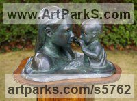 Bronze lost wax Love / Affection sculpture by Naomi Bunker titled: 'Mother and Child in the water (bronze Heads sculptures)'