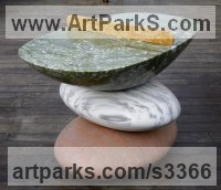 Monumental Sculpture by sculptor artist Neal Barab titled: 'PING PONG CON 4 (abstract stone Stack sculpture/Carving Games Table)' in 3 kinds of marble