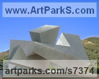 Marble Abstract Contemporary or Modern Outdoor Outside Exterior Garden / Yard sculpture statuary sculpture by sculptor Neil Ferber titled: 'ELUSIVE (Little Geometric Carved marble Miniature statuette)'