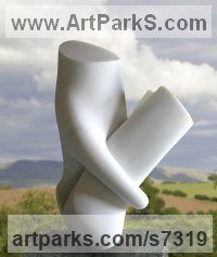 White statuario marble Modern Abstract Contemporary Avant Garde Sculptures or Statues or statuettes or statuary sculpture by Neil Ferber titled: 'Embrace (Contemporary abstract marble Indoor/Outside garden statue)'