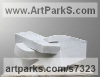 Carrara Marble Geometric Sculpture Statues statuary statuettes. Usually Abstract Contemporary Modern work sculpture by Neil Ferber titled: 'Il Dito (Small abstract Contemporary Carved marble statuette)'