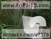 Statuario marble Abstract Contemporary or Modern Outdoor Outside Exterior Garden / Yard sculpture statuary sculpture by sculptor Neil Ferber titled: 'LOCK (Carved Minimalist Contemporary marble Small garden sculpture)'