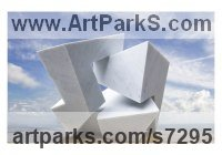 Carrara marble Geometric sculpture statuary statuettes. Usually Abstract Contemporary Modern work sculpture by sculptor Neil Ferber titled: 'On Edge (abstract Contemporary marble Indoor Carving statuette)'
