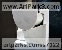Carrara marble Geometric sculpture statuary statuettes. Usually Abstract Contemporary Modern work sculpture by sculptor Neil Ferber titled: 'San Giorgio (Homage to Palladio Contemporary abstract statue Carving)'