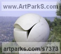 Marble Abstract Contemporary or Modern Outdoor Outside Exterior Garden / Yard sculpture statuary sculpture by sculptor Neil Ferber titled: 'TWO PIECE SPHERE (Modern Contemporary Round Ball sculpture)'