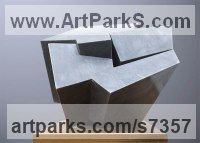 Bardiglio Marble Geometric Sculpture Statues statuary statuettes. Usually Abstract Contemporary Modern work sculpture by Neil Ferber titled: 'ZIG ZAG (Contemporary abstract Carved marble Grey Angular statue)'