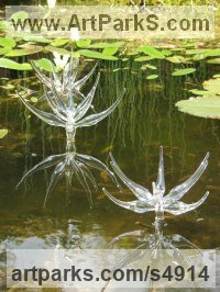 Glass and marine stainless Floral, Fruit and Plantlife sculpture by Neil Wilkin titled: 'Pond Flowers (Big Glass Flowers garden/Yard Water feature sculptures)'