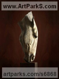 Lead Horses Abstract / Semi Abstract / Stylised / Contemporary / Modern Statues Sculptures statuettes sculpture by Nic Fiddian Green titled: 'Silence (Big Outdoor Horse Head Bust sculpture)'