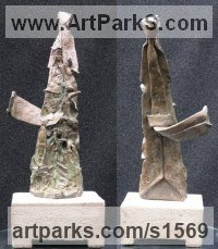 Bronze Necktie sculpture by sculptor Nicholas B. Daddazio titled: '50th (Bronze Commemorative Birthday Anniversary statuette/Figurine/statue)'