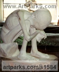 Plaster Maquette Children Child Babies Infants Toddlers Kids sculpture statuettes figurines sculpture by sculptor Nicholas B. Daddazio titled: 'Famine'