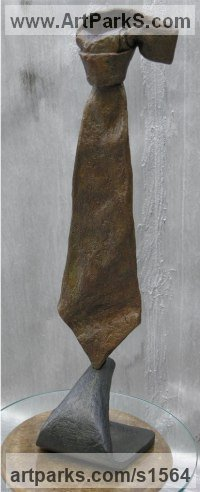 Bronze Necktie sculpture by Nicholas B. Daddazio titled: 'Perch'