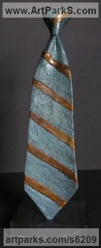 Bronze Necktie sculpture by Nicholas B. Daddazio titled: 'Repp Stripe'