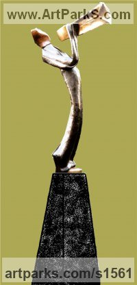 Musician and Musical Sculpture by sculptor artist Nicholas B. Daddazio titled: 'Tie Trumpet' in Bronze
