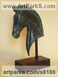 Bronze Resin Horse Head or Bust or Mask or Portrait sculpture statuettes statue figurines sculpture by Nicholas Collins titled: 'Greek Horse (Small Head Bust Classical statuette)'