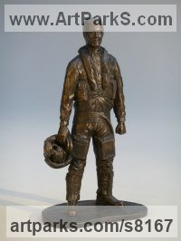 Bronze Resin Military, Soldiers, Sailors, Marines Airmen and Military Equipment sculpture by Nicholas Collins titled: 'Modern RAF Pilot (jet Fighter and Flying Suit statue statuette sculpture)'