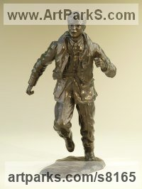 Bronze Resin Military, Soldiers, Sailors, Marines Airmen and Military Equipment sculpture by Nicholas Collins titled: 'One of the Few (Battle of Britain Pilot and Flying Gear statue statuette)'