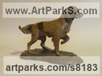 Bronze Resin Dogs sculpture by Nicholas Collins titled: 'Young Springer Spaniel (Little Gun Dog statues)'