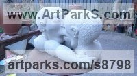 Portland [whitbed] limestone Couples or Group sculpture by Nicholas Rowsell titled: 'Kissing Cousins [2136]'