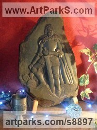 Slate Carved or Carving sculpture by Nicholas Webster titled: 'King Arthur (Carved Slate In Armour sculpture)'