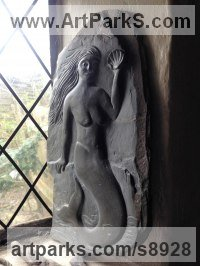 Mythical sculpture by sculptor Nicholas Webster titled: 'Mythical Mermaid (low relief Carved Slate Carving)'