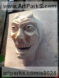 Reclaimed limestone Mythical sculpture by Nicholas Webster titled: 'old nick (Horned Fun Devil Demon Stone carvings)'