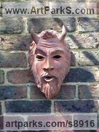 Terra Cotta Wall Mounted or Wall Hanging sculpture by Nicholas Webster titled: 'Mythical Faun Mask (Horned Devil Demon statue)'