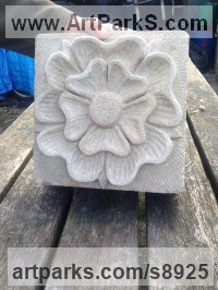 Portland Limestone Flower sculpture statue sculpture by Nicholas Webster titled: 'Tudor Rose (Carved Portland Stone Flower carving)'