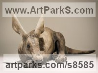 Ceramic African Animal and Wildlife sculpture by sculptor Nick Mackman titled: 'Aardvark sculpture (Raku fired ceramic statuette figurine)'