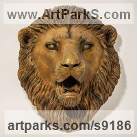 Bronze African Animal and Wildlife sculpture by Nick Mackman titled: 'bronze Lion Head Fountain'