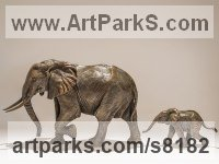 Bronze African Animal and Wildlife sculpture by Nick Mackman titled: 'Follow Me (Little Elephant and Baby Calf statuette)'