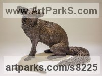 Bronze resin Dogs Wild, Foxes, Wolves, Sculptures / Statues sculpture by Nick Mackman titled: 'Fox (Sitting Fox Bronze resin statuette or figurine)'