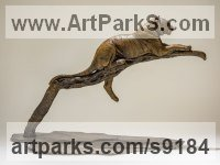 Bronze Cats sculpture by Nick Mackman titled: 'Raj at Rest (Tiger Resting Drowsing on Branch statue)'