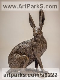 Bronze resin Hares and Rabbits sculpture by sculptor Nick Mackman titled: 'Sitting Hare (Sitting Hare Bronze resin statuette or figurine)'