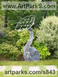 Modern Abstract Contemporary Avant Garde Sculpture or Statues or statuettes or statuary by sculptor artist Nick Moran titled: 'Revival (Steel abstract Contemporary Modern garden sculpture statue)' in Steel