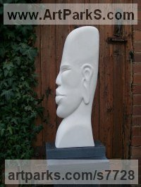 Portland stone Human Figurative sculpture by Nicola Axe titled: 'Meditate (Profile Modern Contemporary Buddhas Head Bust carving statue)'